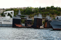 Floating dock in the southern bay of Sevastopol Stock Photos