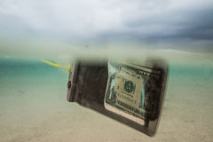 Floating dollar in speacial bag Royalty Free Stock Image