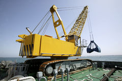 Floating dredging platform Stock Images