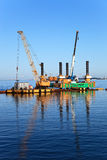 Floating dredging platform Stock Photography