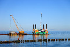 Floating dredging platform Stock Photo