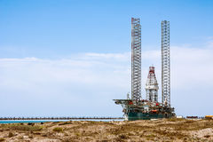 Floating drilling rig the offshore oil and gas production, docked in the port Stock Photo