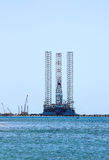 Floating drilling rig the offshore oil and gas production, docked in the port Royalty Free Stock Image