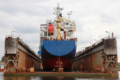 Floating dry dock with blue industrial tanker ship Royalty Free Stock Image