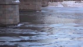 Ducks under the bridge in winter. Floating ducks near the bridge supports stock video footage