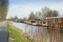 Floating Dutch houseboats Stock Images