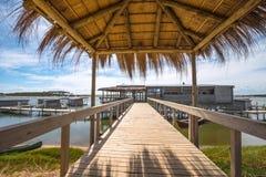 Floating  eco-bungalows on Uruguayan lake Garzon. Jose Ignacio, Uruguay, March 08, 2016 - Floating bungalows on Uruguayan eco-lake Garzon emptied for the winter Royalty Free Stock Image