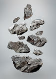 Floating/Falling Rocks. A layout of rocks that are either floating or falling for use in layouts Royalty Free Stock Image