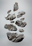 Floating/Falling Rocks royalty free stock image