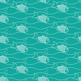 Floating fish. With air bubbles on a green background Royalty Free Stock Photo