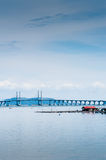Floating Fish Cage and Penang Bridge Stock Photo