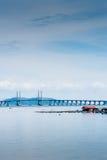 Floating Fish Cage and Penang Bridge Stock Photo