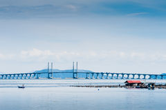Floating Fish Cage and Penang Bridge stock photography