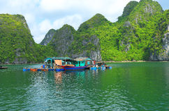Floating fish farms vietnam Royalty Free Stock Image
