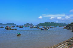 Floating fish farms vietnam Stock Image