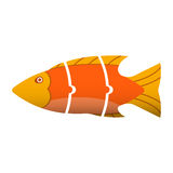 Floating fish into pieces in a puzzle. Stock Image