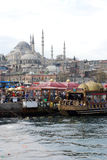 Floating Fish Restaurants in Istanbul Stock Images
