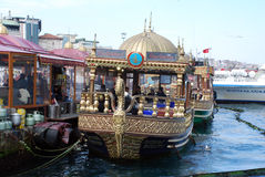 Floating Fish Restaurants in Istanbul Stock Photos