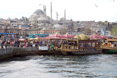 Floating Fish Restaurants in Istanbul Royalty Free Stock Photo