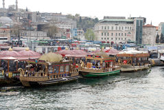 Floating Fish Restaurants in Istanbul Stock Photo