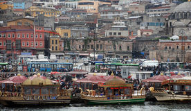 Floating Fish Restaurants in Istanbul Royalty Free Stock Images