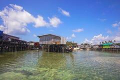 Floating fisherman house at Mabul Island, Sempoerna Royalty Free Stock Photos