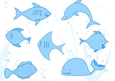 The floating fishes Stock Image