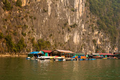 Floating Fishing Village. Small floating village in Halong Bay, Vietnam Royalty Free Stock Photography