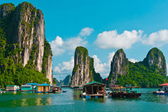 Floating fishing village Stock Images