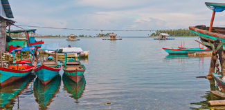 Floating fishing village in Banyak Archipelago. Floating fishing village, Banyak Archipelago, Indonesia, Southeast Asia royalty free stock images
