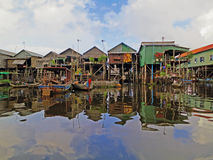 Floating fishing village in Cambodia Royalty Free Stock Images