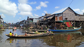 Floating fishing village in Cambodia Stock Photography