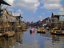 Floating fishing village in Cambodia Royalty Free Stock Photography