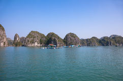 Floating Fishing Village in Ha Long Bay, Vietnam Stock Image