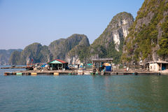 Floating Fishing Village in Ha Long Bay, Vietnam Royalty Free Stock Photos