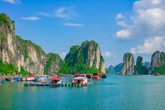 Floating fishing village in Halong Bay, Vietnam Stock Photo