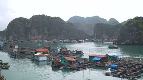 Floating fishing village. And rock islands in Halong Bay, Vietnam, Southeast Asia. The movement of ships in the Gulf stock video