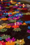 Floating flower candles in water  for make merit in the Buddhist Stock Photography