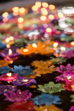 Floating flower candles in water  for make merit in the Buddhist Royalty Free Stock Photography