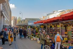 Floating flower market in Amsterdam. royalty free stock image