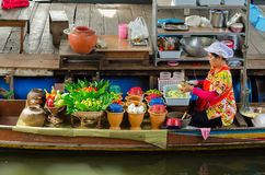 Floating Food Vendor in Thailand Stock Image