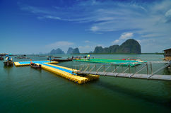 Floating football field in the fishing village of Panyee Island Stock Photo