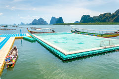 Floating football pitch at Panyee village Royalty Free Stock Photos