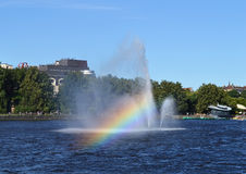 Floating fountain in Vyborg Bay Royalty Free Stock Photos
