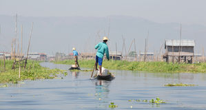 Floating garden and Fisherman Stock Photos