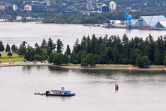 Floating Gas Station and Stanley Park Vancouver Royalty Free Stock Photo