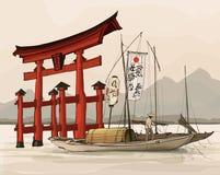 Floating gate of Itsukushima Shrine. Vector illustration Royalty Free Stock Photography