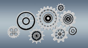 Floating gear grey icons 3D rendering. Floating gear grey icons on grey background 3D rendering Royalty Free Stock Photos