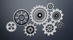 Floating gear grey icons 3D rendering Royalty Free Stock Image