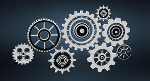Floating gear grey icons 3D rendering Royalty Free Stock Photo